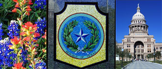 images of Texas: bluebonnets, seal, Texas State Capitol.